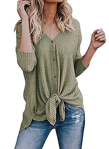 Roselux Womens Henley Shirts Long Sleeve Waffle Knit Tunic Blouse Tie Knot Button Down Loose Fitting Tops (Green,M) ()