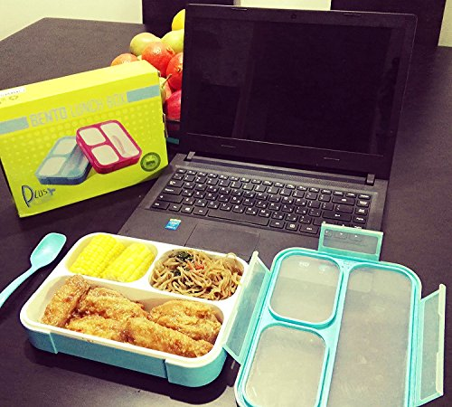 pluspoint slim bento lunch box set with insulated bag spoon leakproof ecofriendly reusable. Black Bedroom Furniture Sets. Home Design Ideas