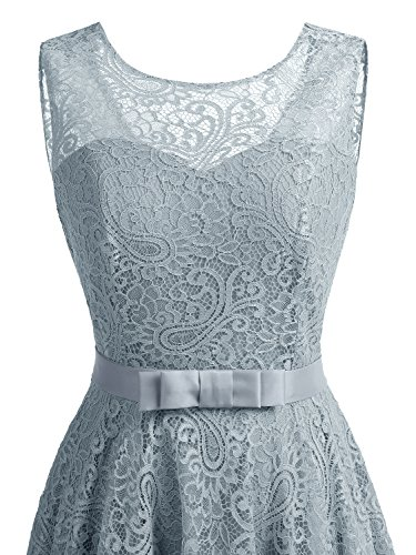 A Dress Grey Line Fit Party and Prom with IVNIS Flare Women's Belt Lace Cocktail Dress T0wn8qB