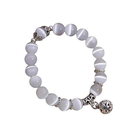 ae55335a5d55 Gahat Piedras de ópalo Natural, Ojo de Gato Pulsera de Perlas de ...