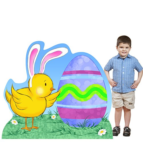 4 ft. Easter Egg & Chick Standee Standup Photo Booth Prop Background Backdrop Party Decoration Decor Scene Setter Cardboard Cutout -