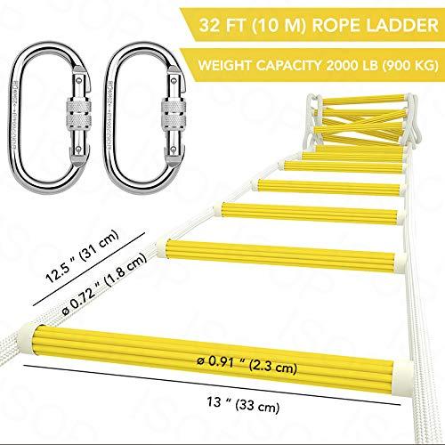 ISOP Escalera de Emergencia para Cuerda de Escape de Incendios para Casas de 3-4 Pisos - Escaleras de Seguridad de 10 m / 32 pi con Mosquetones y Arnés de Seguridad -
