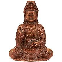 Kuan Yin Statue - Meditating Buddha Statue Guan Yin Statue Figurine, Small Buddha Statue for Interior Decoration, Good Luck Charm, Brown - 8.7 x 7 x 5.2 Inches