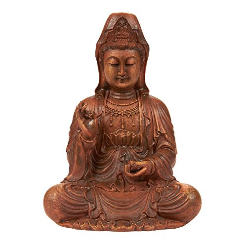 Juvale Kuan Yin Statue - Meditating Buddha Statue Guan Yin Statue Figurine, Small Buddha Statue for Interior Decoration, Good Luck Charm, Brown - 8.7 x 7 x 5.2 Inches -