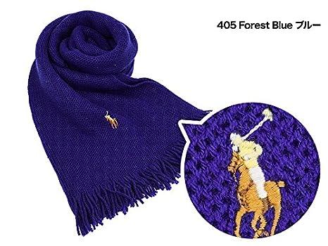 52bd7b50076a Amazon | Polo Ralph Lauren ポロ ラルフローレン マフラー 6F0400 405 Forest Blue ブルー  [並行輸入品] | マフラー 通販
