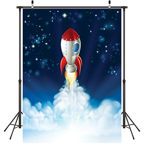 Launch Photo - LYWYGG 5x7ft Rocket Launch Backdrops Cartoon Spacecraft Photo Shoot Background Space Capsule Spaceship Photography Studio Props Child Kid Boy Girl Artistic Portrait Digital Backdrops Vinyl CP-43