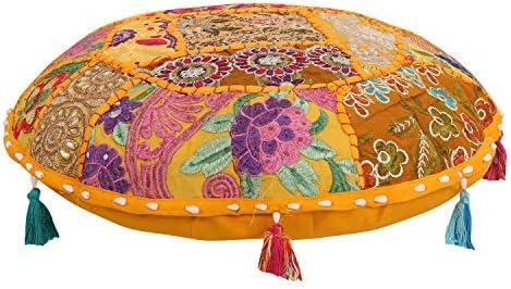 Cubierta Cojín de suelo redondo indio 35 pulgadas Mandala Diseño de Flores hecho a Mano étnico
