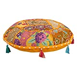 Indian Ottoman Pouf Cover Decorative Living Room Foot Stool Bohemian Chair Covers Handmade Cotton Traditional Round Pouf 16 Inch Indian Cushion Cover Set Bohemian Hippie Hippy Mandala Cushion Set