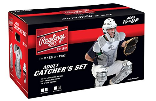 Rawlings Sporting Goods VCSA-W/SIL Adult Catcher Set Velo Series Protective Gear, White/Silver, Age 15+