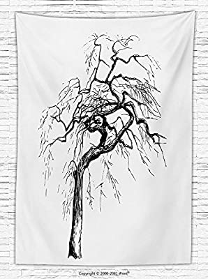 Apartment Decor Fleece Throw Blanket Illustration of an Autumn Tree with Dead Dry Branches Dramatic Mystical Nature Theme Throw Blanket