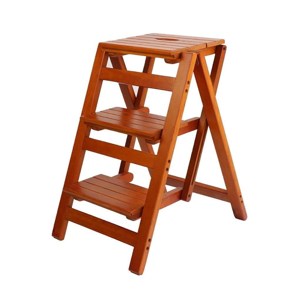 A ZHANG-TI Multifunctional Portable Stool Stool Multifunction Folding Stool Solid Wood, Portable Kitchen Footstool, Flower Display Stand, Indoor Ladder.Easy Folding Ladder (color  C) (color   C)