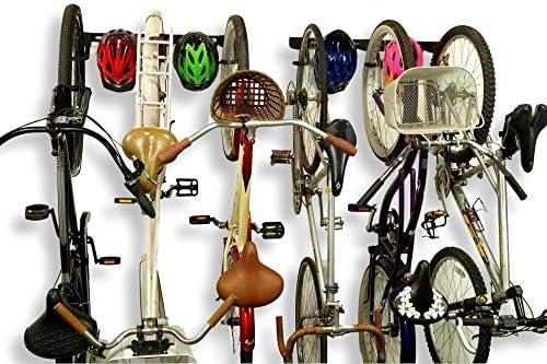 Koova 壁掛け自転車ストレージラック ガレージハンガー 自転車3台+ヘルメット用 大型クルーザー/大型タイヤマウンテンバイクにもフィット 高耐久パウダーコーティングスチール アメリカ製 6 Bike Rack