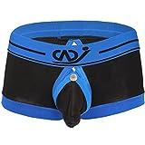 YiZYiF Men's Boxer Brief Buckled Pouch Shorts Underwear Black Medium