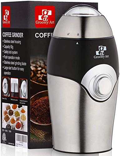 Coffee Grinder Electric – Simple Touch Small & Compact Blade Mill – Automatic Grinding Tool Machine Whole Coffee Beans…