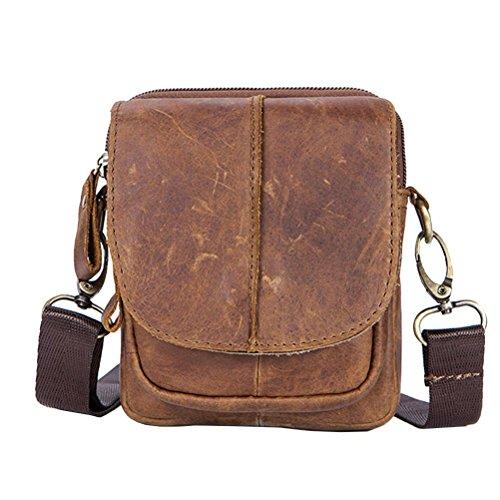 Hombro Estilo GTUKO Bolsas Vintage Cuero 1025 De Bolso Hombro Para Duro Genuino De Hombres De Marrón Hombre marrón Nuevos De Poliéster De 6aqwr6d