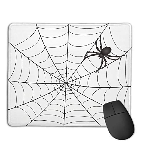 (Mouse Pad Non-Slip Thick Rubber Large MousepadSpider Web,Gothic Fairytale Elements Creepy Scary Dangerous Spider Sticky Catch,Charcoal Grey White,Suitable for Notebook Desktop Computers,Mouse Pad w)