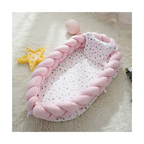 Abreeze Baby Lounger for Newborn -Light Pink Baby Lounger – Braided Knot Crib Co-Sleeping Baby Bed – 100% Cotton Portable Crib for Bedroom/Travel/Camping 0-24 Month