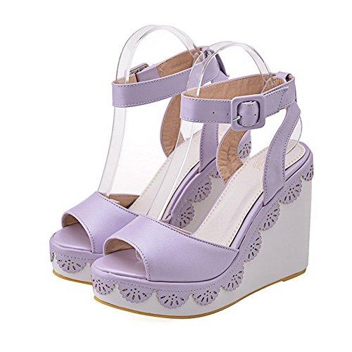 AgooLar Women's Buckle Open Toe High Heels PU Solid Sandals Purple 6yDNYPKOBi