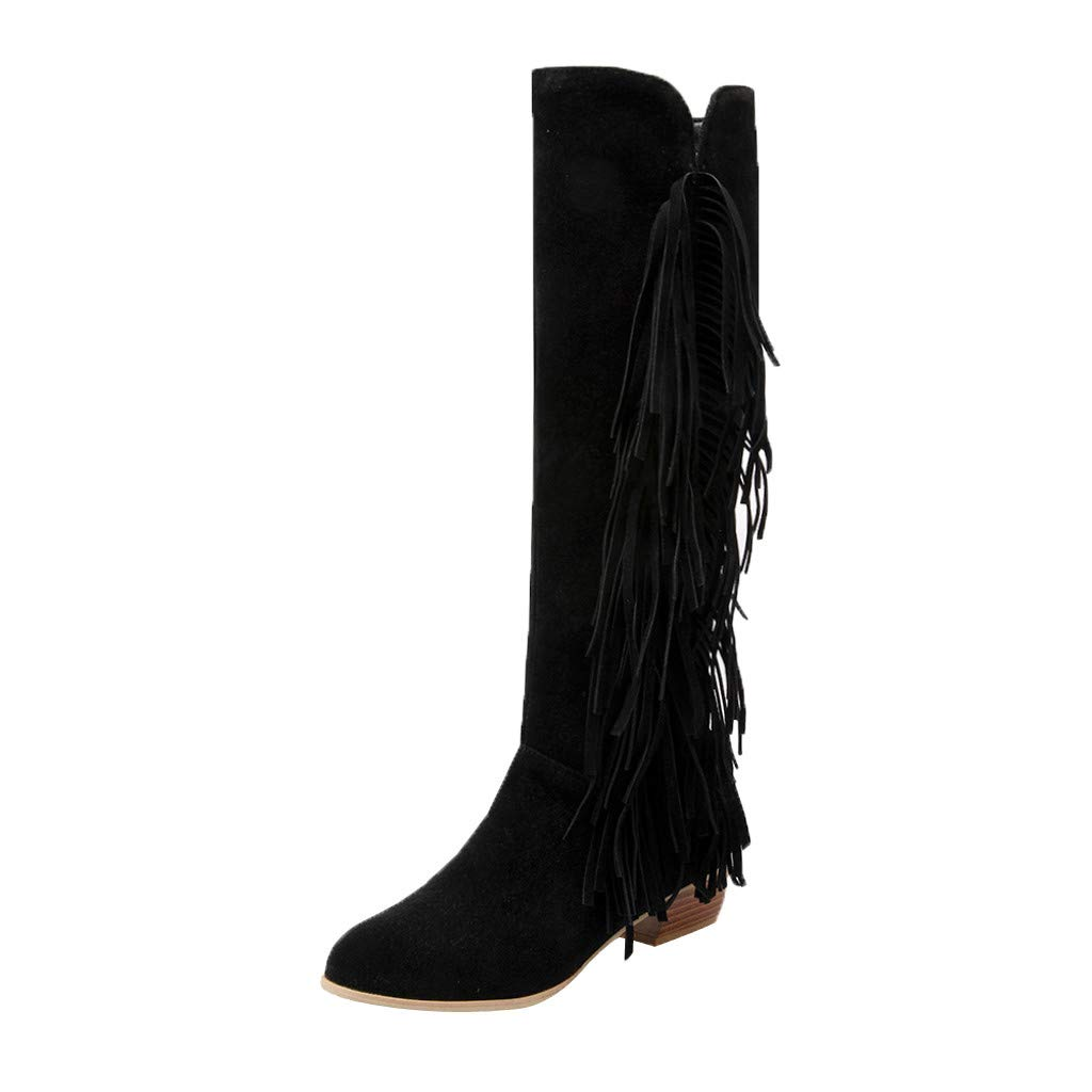 Gleamfut Women's Tassel Knee High Boots Fashion Solid Color Suede Zipper High Boots Black by Gleamfut