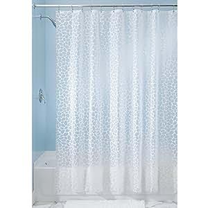 InterDesign - Pebblz - Cortina para ducha, de PEVA, libre de PVC - 180 x 180 cm - Blanco