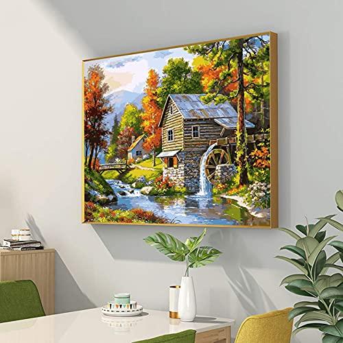 Aapxi Malen nach Zahlen Erwachsene und Kinder – Malen nach Zahlen Dorflandschaft – 40 x 50 cm Leinwand und 4 Pinsel, Acrylfarbe (ohne Rand)