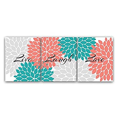 UNFRAMED PRINTS (CHOOSE YOUR SIZES) - Home Decor Wall Art, Live Laugh Love, Coral Wall Art, Flower Burst Bathroom Wall Decor, Coral and Teal Bedroom Wall Art - HOME56