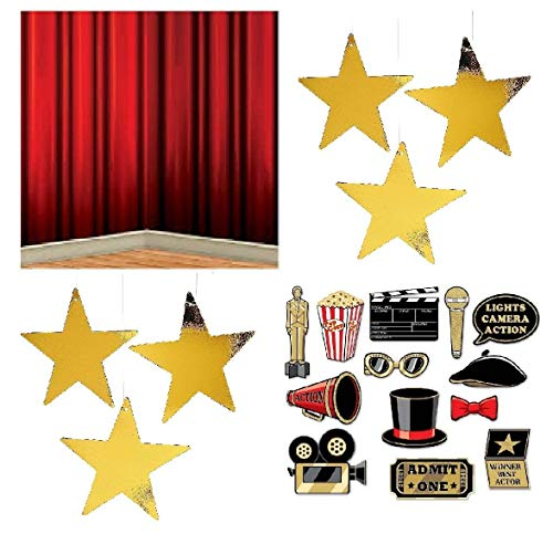 (FAKKOS Design Hollywood Red Carpet Awards Ceremony Party Theme Supplies and Decorating Pack - 3 Items - Glitter Photo Props, Red Curtain Back Drop and 24 Gold Metallic Hanging)