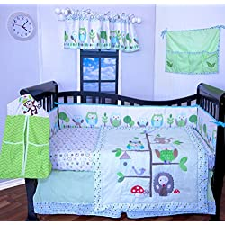 9 Pcs Designer Crib Bedding Nursery Set.OWL TREE ,Baby boy or girl bumper included