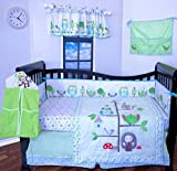 crib bumper owl girl - 12 Pcs Designer Crib Bedding Nursery Set.OWL TREE ,Baby boy or girl bumper included