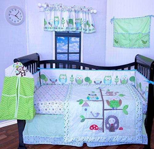 12 Pcs Designer Crib Bedding Nursery Set.OWL TREE,Baby boy or girl bumper ()