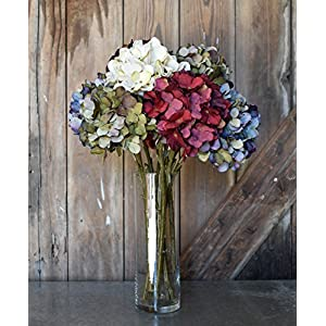 Artificial Silk Hydrangea Spray Pick Big Head Faux Bouquet - Flower Bright Petals Bush on Long Stem in Vibrant Colors, 18 Inches Blooming Florals for Home & Wedding Decor Embellishing 81