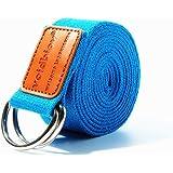 Anneau en D Boucle Coton Yoga Sangles 6m (4couleurs), idéal pour s'étirer, tenant poses, la souplesse et thérapie physique