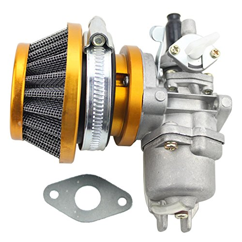 GOOFIT Air Filter Stack Carburetor Carb 2 Stroke 47cc 49cc Mini ATV Quad Dirt Pocket Bike Yellow