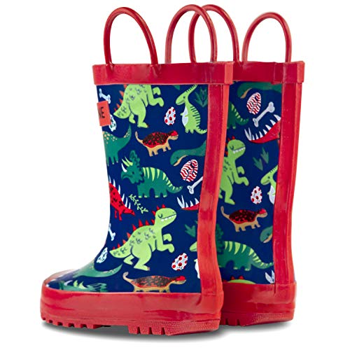 Lonecone Rain Boots With Easy-on Handles In Fun Patterns For Toddlers & Kids, Puddle-a-saurus Dinosaur, Toddler 10