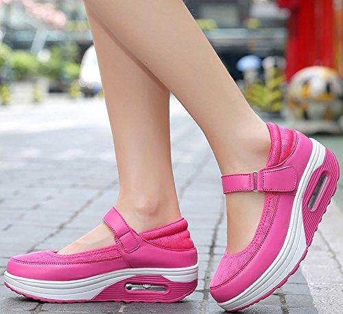 ODEMA Women's PU Mesh Strap Platform Sneaker Shape Ups Walking Shoes Mesh Rosered 3faItb