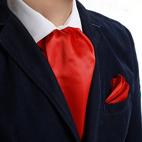 Dan Smith Mens Fashion Multiple Colors Solid Microfiber Evening Ascot Handkerchief With Free Bags