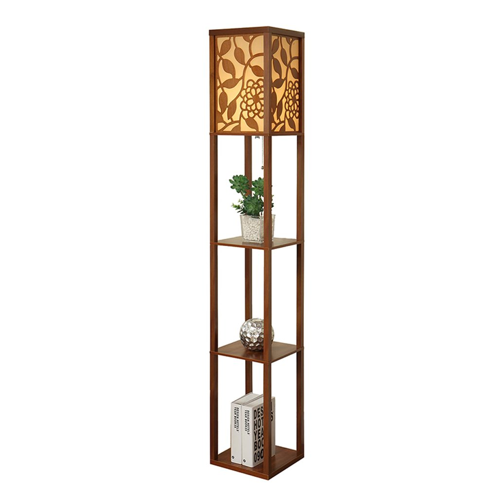 Chinese Carved Living Room Floor Lamp Remote Control Bedroom Bedside Lamp Creative Storage Shelf Table Lamp ( Color : Walnut wood )