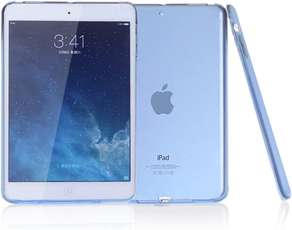 """iPad Air Case, iCoverCase Ultra-thin Silicone Back Cover Clear Plain Soft TPU Gel Rubber Colorful Skin Case Protector Shell for Apple iPad Air/iPad 5 9.7"""" (Blue)"""