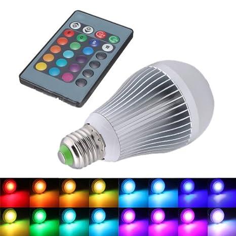 SODIAL(R) 12W E27 16 que cambia de color RGB Bombilla LED lampara de luz 85-265V + IR Remote Control: Amazon.es: Hogar