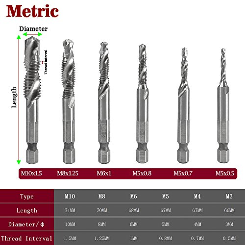 M3-M10 Hex Shank Titanium Plated HSS Hand Screw Thread Metric Tap Drill BL
