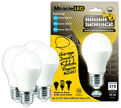 Miracle LED 604740 3-Watt Rough Service Garage Door Light, Long Life Energy Saver Bulb, Cool White, 4-Pack by MiracleLED