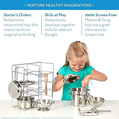 Melissa & Doug Let's Play House! Deluxe Stainless Steel Pots & Pans Play Set - The Original Kids Toy, 15 Pieces, Great Gift for Girls and Boys – Best for 3, 4, 5, 6, 7 and 8 Year Olds: Toys & Games