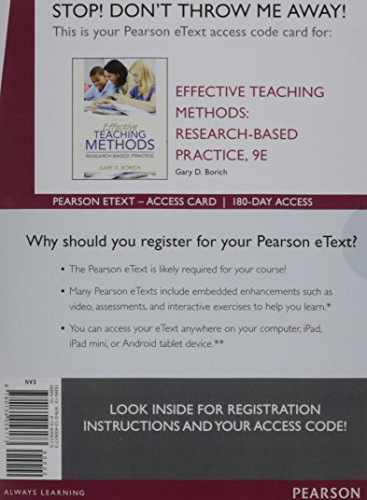 Effective Teaching Methods: Research-Based Practice, Enhanced Pearson eText -- Access Card (9th Edition)
