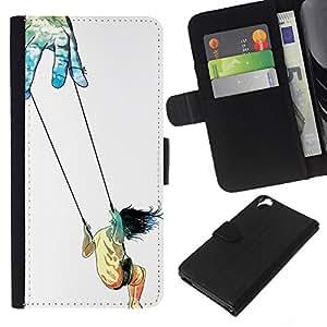 KLONGSHOP // Tirón de la caja Cartera de cuero con ranuras para tarjetas - Simbólico oscilación de chicas Art Trust Vida Dios Manos - HTC Desire 820 //