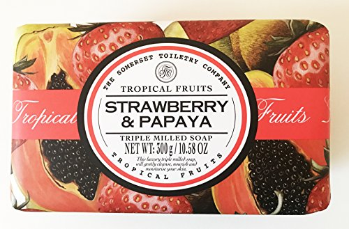 Tropical Fruits Strawberry and Papaya TRIPLE MILLED SOAP by The Somerset Toiletry - Mall Somerset Shopping