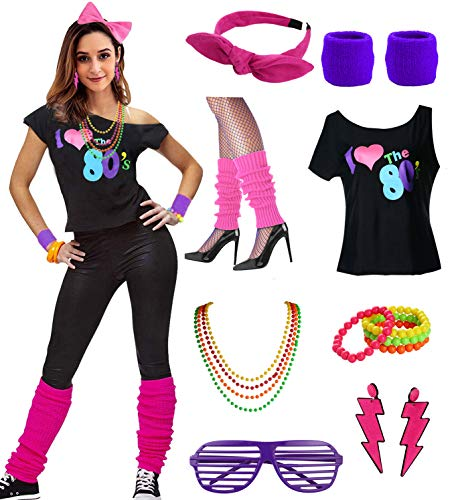 esrtyeryh Women Costume Womens I Love The 80's Disco 80s Costume Outfit Accessories, Purple, M/L