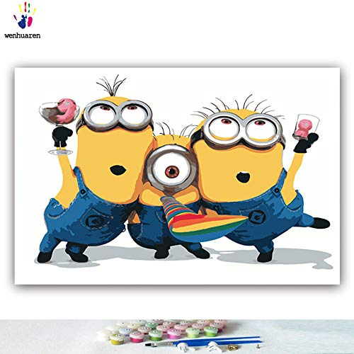 Paint by Number Kits 12 x 18 inch Canvas DIY Oil Painting for Kids, Students, Adults Beginner with Brushes and Acrylic Pigment -Despicable Me Minions Minion Dave Stuart Tim Mark(Without Frame) -