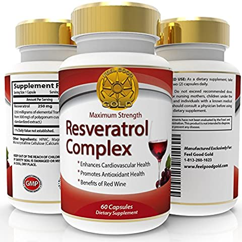 Feel Good Gold Trans Resveratrol Max Strength 250mg High Potency Antioxidant Supplement, 60 Capsules