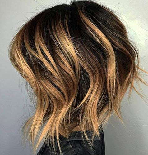 Honey Highlights (Easyouth Wavy Short Wig Colorful Lace Front Wig Remy Human Hair 8 Inch Colour Dark Brown Highlight With Honey Blonde Wavy Bob Wig Human Hair)