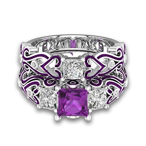 Plated Created Diamond Hearts Ring - Balakie Women Ring Purple Diamond Cut Cubic Zirconia Engagement Heart Wedding Band Bridal (Purple, 6)